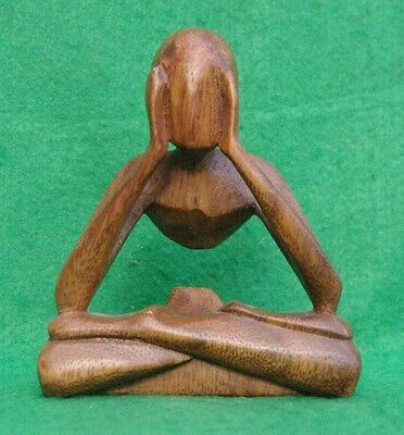 'empty Thoughts' Small Abstract Meditating  Figure Carved  In Hardwood