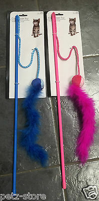 "2 x Cat kitten Teaser Stick Toy feathers & rattle ball approx 22"" Pink or Blue"