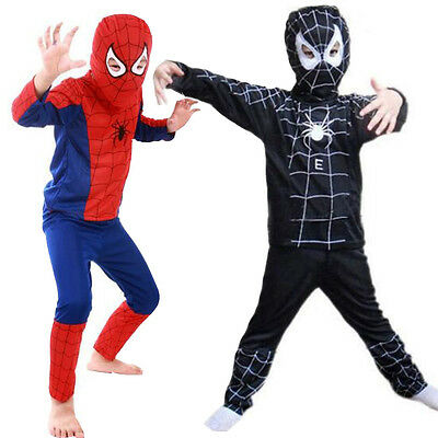 Costume Kids Boys Girls Fancy Dress Halloween Cosplay Spiderman Outfits Clothes