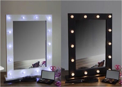 Light Up Mirror Dressing Table Hollywood Vanity Make Beauty LED Glass Battery