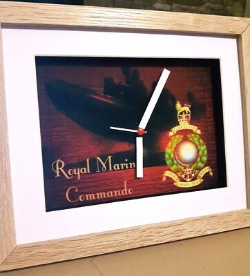 British Forces Royal Marines 10 X 8 Box Frame Picture Clock