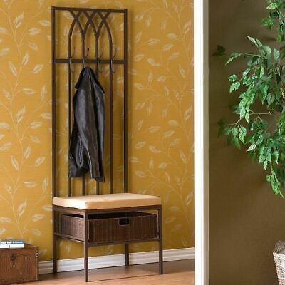 Brown Metal Hall Tree Cushion Bench Coat Rack Entryway Storage Basket Hook Stand
