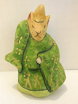 Japanese Fox Figure, Paper Mache, Dancing Heian Court Fox,Folk, Inari. Signed