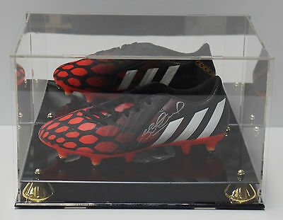 Deluxe Acrylic Football Boot Display Case With Gold Risers Mirror Back Finish