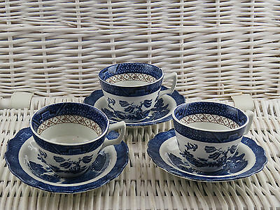 x3 Vintage Booths Real Old Willow A8025 Replacement Cups & Saucers