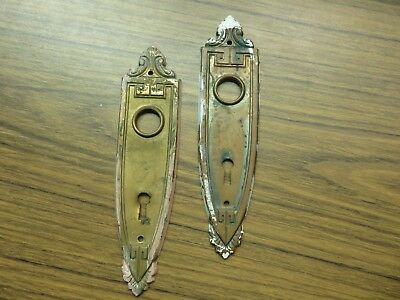 Vintage Pair of  Ornate  Art Deco Door Knob Back Plates Lot E