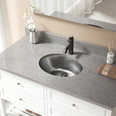 MR Direct Stainless Steel Oval Undermount Bathroom Sink with Overflow