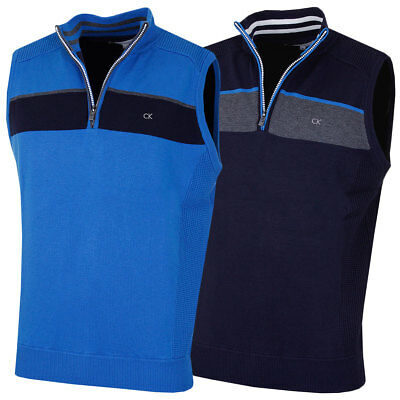 Calvin Klein Golf 2017 Mens Champion Lined Sweater Vest Half Zip Pullover