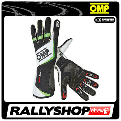 FIA OMP One Evo RACE Karthandschuh Handschuhe Professionell NOMEX Grün