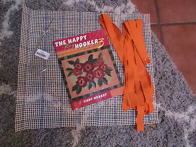 """THE HAPPY HOOKER""Locker Hook Rug beginning kit.Book canvas Locker hook fabric"