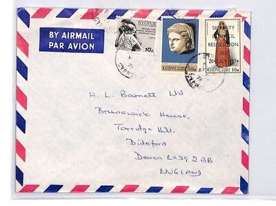 BQ218 1976 Cyprus Devon Great Britain Airmail Cover {samwells}PTS