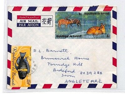 BQ239 Burundi Devon Great Britain Airmail Cover {samwells}PTS