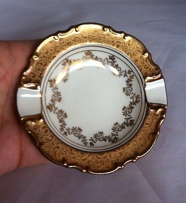 Vintage Erphila Germany Ashtray Gold And White