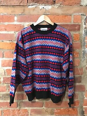 VINTAGE 80s 90s CRAZY OVERSIZED KNIT JUMPER COSBY RED BLUE (vj98) SIZE S-M