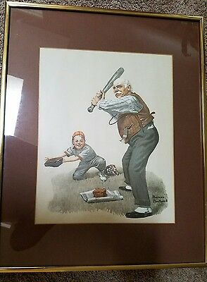 Reproduction of a Norman Rockwell Painting of Grandfather Playing Baseball