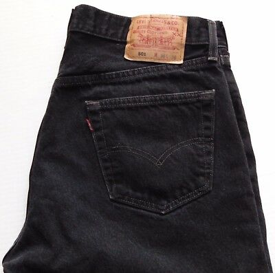 VTG 90s Levi's 501 Button Fly Jeans Black Size 35x32 Made in USA 100% Cotton EUC