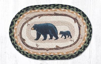 MAMA & BABY BEAR 100% Natural Jute Oval Swatch Trivet/Placemat by Earth Rugs