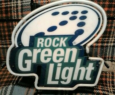 "Rolling Rock ""Rock Green Light"" beer mini Neon sign! MINT IN BOX NEVER DISPLAYED"