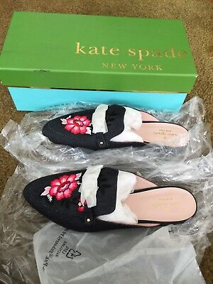 e0bf550f25f0 NIB Kate Spade New York Canyon Indigo Denim Embroidered Loafer Mule Shoe  Size 8