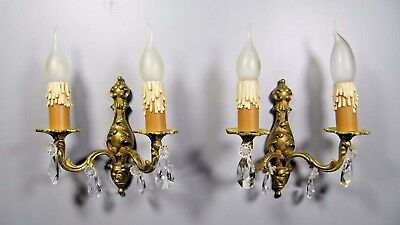 Antique Rococo Sconce: French Pair Brass Bronze Crystal Louis XV Wall Light Lamp