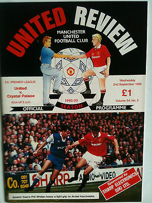 MINT 1992/93 Manchester United v Crystal Palace Premier League