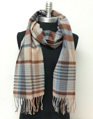 Men's 100% CASHMERE SCARF Scotland Soft Wool Wrap Plaid Color Khaki Brown Blue