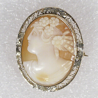"Vintage Antique 10K Yellow Gold Carved Shell Cameo Brooch Pendant 1.25"" Woman"