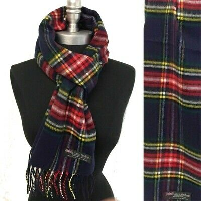 NEW Men Women 100%CASHMERE SCARF Scotland Soft Wool Wrap Plaid Black/Cream/Brown