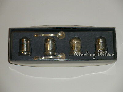 """Lord Silver Inc Miniature Salt & Pepper Shakers Set with mini spoons """"NO MONO"""""""