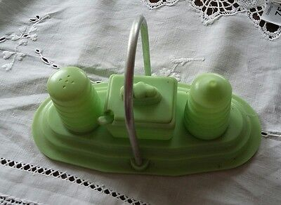 Vintage Retro Kitsch  F.GRAFTON .Rare Green  cruet holder.   C.1960s.
