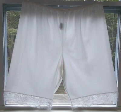 White MMI Antron Nylon Pettipants Bloomers Tap Panties with Lace Plus Size 3X