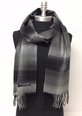 NEW Men's 100% CASHMERE SCARF Scotland Soft Wool Wrap Plaid Check Grays Black