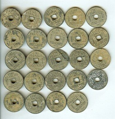 French Indo-China  1942 Cent  Group Of 24 Coins