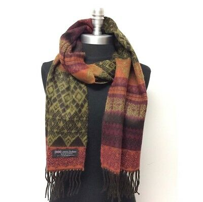 100% Cashmere Scarf Classic Plaid Brown/Mustard/Orange/Wine Scotland Warm Wool