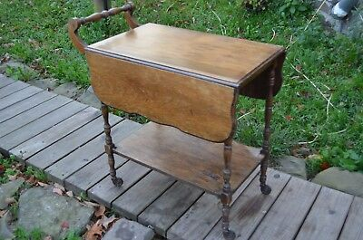 Antique Tea bar Cart with two Drop Leafs, GLASS Serving Tray-FIX UP DIY