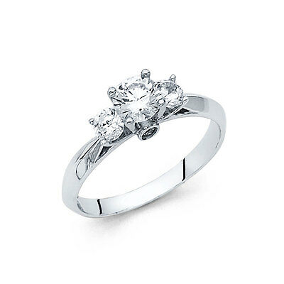 1 ct Three Stone Diamond Engagement Wedding Ring 14K Solid White Gold