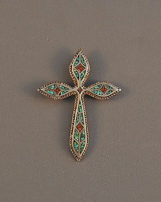 """Large Vintage Zuni Silver Cross Pendant - Beautiful Turquoise Coral Inlay - 3"""""""