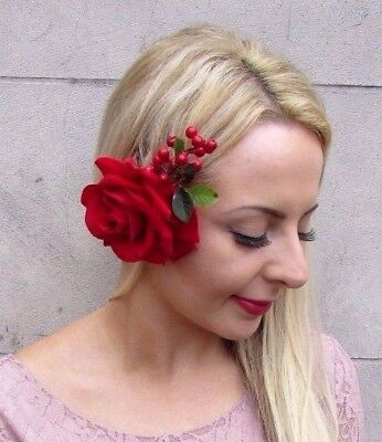 Large Red Rose Berry Flower Hair Clip 1950s Fascinator Bridal Races Wedding 4053
