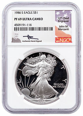 1986-S American Silver Eagle Proof NGC PF69 UC Mercanti Signed Label SKU46693