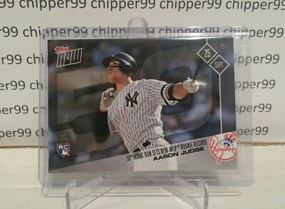 Aaron Judge 50TH HOME RUN SETS NEW MLB ROOKIE RECORD RC 2017 Topps Now Yankees
