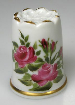 thimble porcelain handpainted roses Reichenbach Germany German