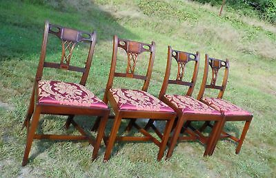 Vintage Set of 4 Federal Style WOOD & HOGAN Inlaid Mahogany Dining Chairs Damask