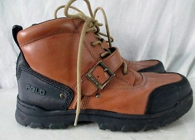 Boys POLO RALPH LAUREN Leather Ankle Boots Shoes Trek Hiking BROWN 6