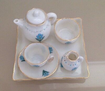 Goss Miniature Teaset On Tray - Forget Me Not Pattern - Vgc - Free Uk Postage