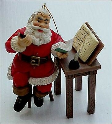 New Vintage Coca Cola Coke Santa Claus Reading Trim A Tree Ornament 1997 20 Yrs