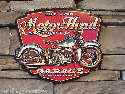 Motor Head Red Motorcycle Garage Metal Tin Embossed 10 x 12 Die Cut Sign New