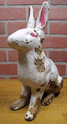 Antique Cast Iron White Rabbit Doorstop old Yard Art large heavy full size bunny