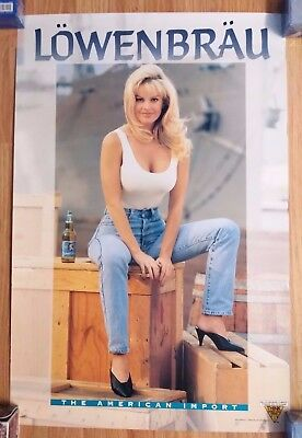 Sexy Girl Beer Poster Lowenbrau ~ Tight Jeans & White Shirt Sitting on Crate