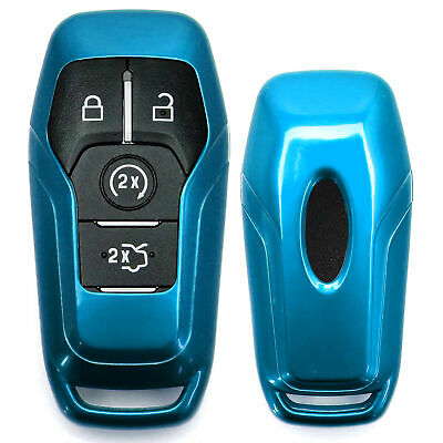 Glossy Blue Key Fob Shell Cover For Ford or Lincoln Intelligent Access Smart Key