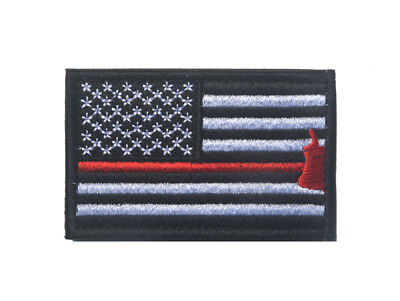 Firefighter Axe US Flag Thin Red Line Patch American Sew Iron On Morale Tags